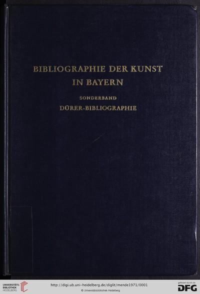 Dürer-Bibliographie: im Auftrag des Germanischen Nationalmuseums Nürnberg zum Dürer-Jubiläumsjahr 1971