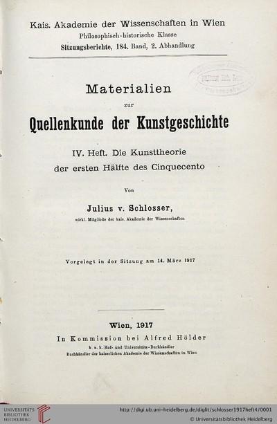 Image from object titled Materialien zur Quellenkunde der Kunstgeschichte: Die Kunsttheorie der ersten Hälfte des Cinquecento - 1917