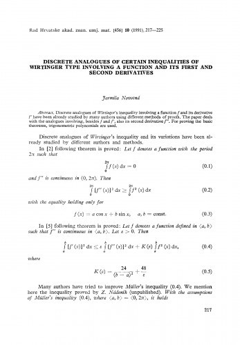 Discrete analogues of certain inequalities of Wirtinger type involving a function and its first and second derivatives