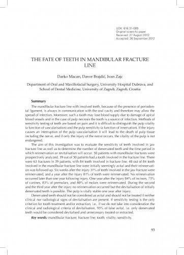 <The> fate of teeth in mandibular fracture line