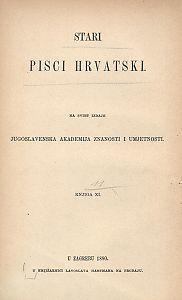 Stari pisci hrvatski : Pjesme Miha Bunića Babulinova, Maroja i Oracija Mažibradića, Marina Burešića : 11