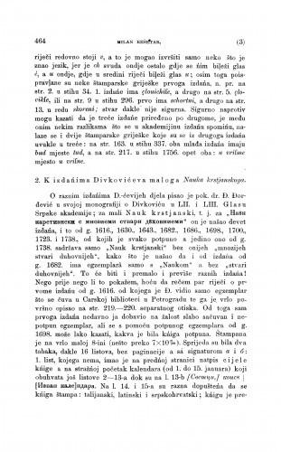 K izdańima Divkovićeva maloga Nauka krstjanskoga