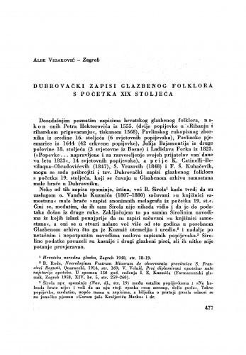 Dubrovački zapisi glazbenog folklora s početka XIX stoljeća