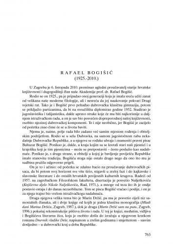Ljetopis : Rafael Bogišić (1925.-2010.) : nekrolog