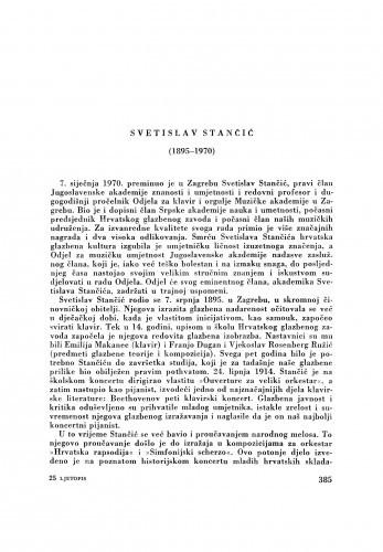 Ljetopis : Svetislav Stančić (1895-1970) : [nekrolog]