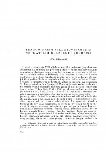 Ljetopis : Tragom naših srednjovjekovnih neumatskih glazbenih rukopisa