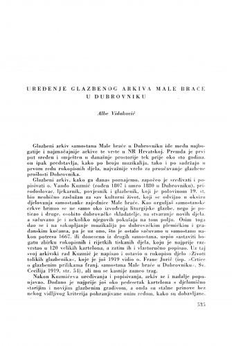 Ljetopis : Uređenje Glazbenog arkiva male braće u Dubrovniku