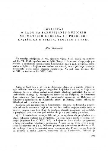 Ljetopis : Izvještaj o radu na sakupljanju muzičkih neumatskih kodeksa i o pregledu knjižnica u Splitu, Trogiru i Hvaru