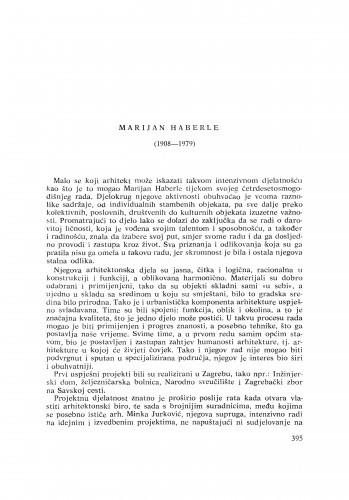 Ljetopis : Marijan Haberle (1908-1979) : [nekrolozi]