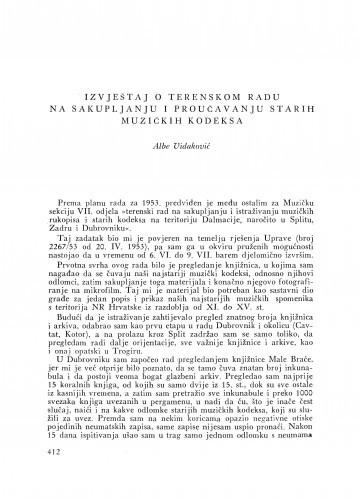 Ljetopis : Izvještaj o terenskom radu na sakupljanju i proučavanju starih muzičkih kodeksa