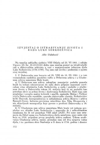 Ljetopis : Izvještaj o istraživanju života i rada Luke Sorkočevića