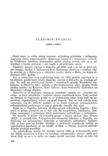 Ljetopis : Vladimir Antolić (1903-1981) : [komemoracija i nekrolozi]