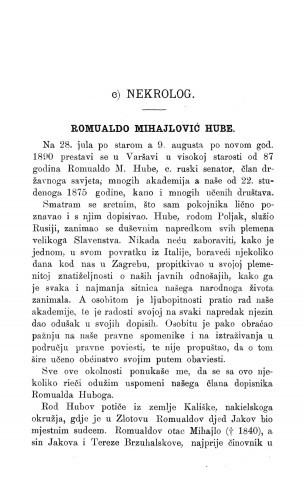 Ljetopis : Romualdo Mihajlović Hube : [nekrolog]