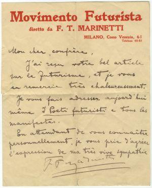 Pismo F. T. Marinettija A. G. Matošu