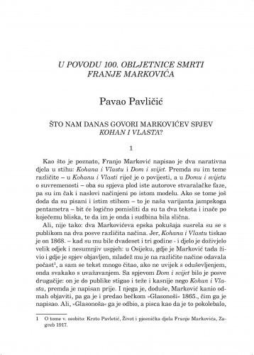 Što nam danas govori Markovićev spjev Kohan i Vlasta? : u povodu 100. obljetnice smrti Franje Markovića