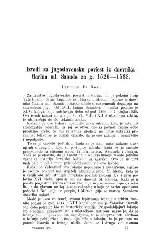 Izvodi za jugoslavensku poviest iz dnevnika Marina ml. Sanuda za g. 1526-1533