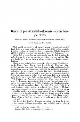 Gradja za poviest hrvatsko-slovenske seljačke bune god. 1573.