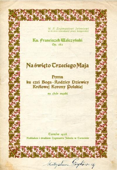 Na święto Trzeciego Maja : hymn ku czci Boga-Rodzicy Dziewicy Królowej Korony Polskiej na chór męski