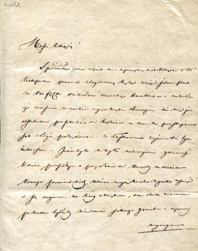 List Aleksandra Fredry z dn. 26 grudnia 1839 r.