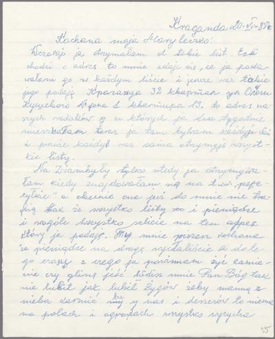List do Maryli Budkiewicz - ciężkie położenie, zła sytuacja psychiczna [nazwa red.]
