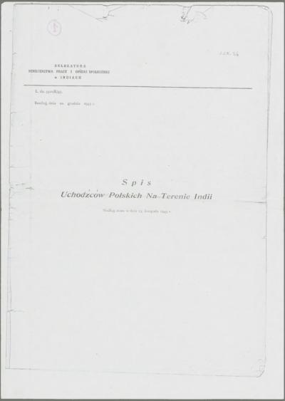 Spis Uchodźców Polskich Na Terenie Indii. Według stanu w dn. 15.11.1943