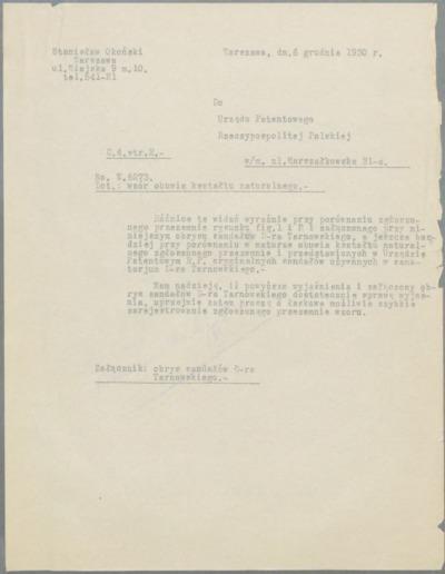 Pismo Stanisława Okońskiego skierowane do Urzędu Patentowego Rzeczpospolitej w sprawie wzoru obuwia kształtu naturalnego [nazwa red.]