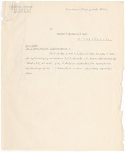 Pismo Stanisława Okońskiego do Urzędu Patentowego w sprawie patentu na obuwie higieniczne [nazwa red.]