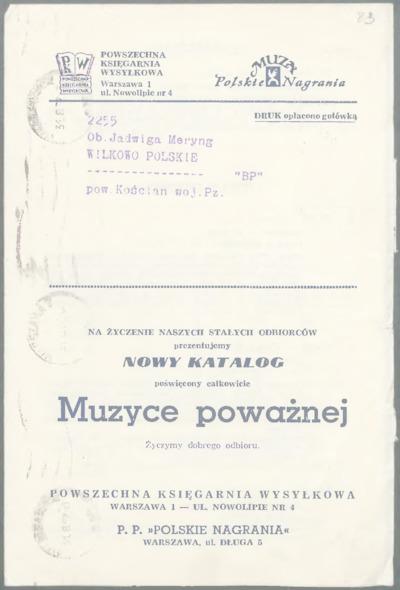 Katalog poświęcony muzyce poważnej wysłany Marii Meryng przez Powszechną Księgarnię Wysyłkową [nazwa red.]