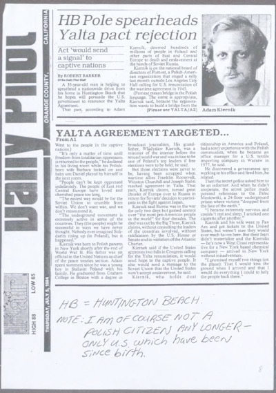 """Artykuł Roberta Barkera o Adamie Kierniku i akcji mającej na celu unieważnienie przez Kongres USA postanowień konferencji w Jałcie, zamieszczony w """"Daily Pilot"""" [nazwa red.]."""