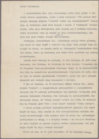 Przemówienie wygłoszone na Walnym Nadzwyczajnym zebraniu Związku Literatów Polskich w dniu 29 lutego 1968 r. [nazwa red.]