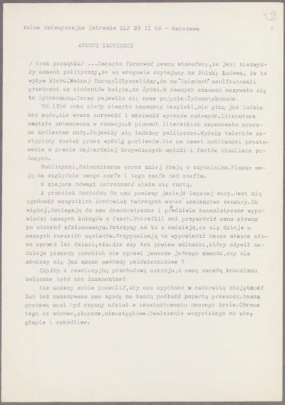 Wypowiedź wygłoszona na Walnym Nadzwyczajnym zebraniu Związku Literatów Polskich w dniu 29 lutego 1968 r. [nazwa red.]