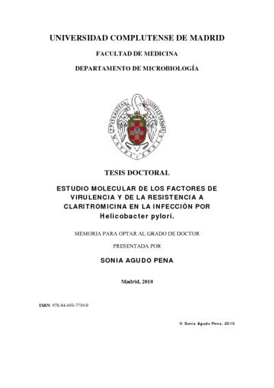 Estudio Molecular De Los Factores De Virulencia Y De La Resistencia A Claritromicina En La Infeccion Por Helicobacter Pylori