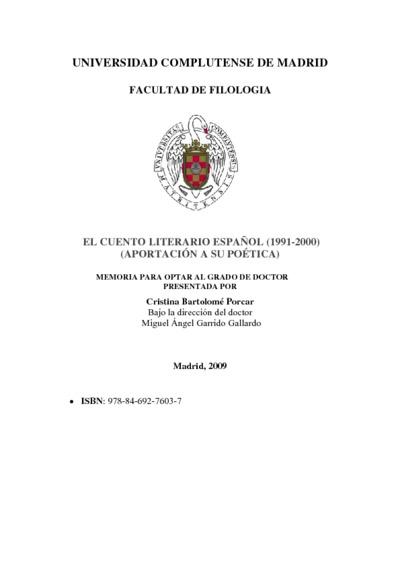 El cuento literario español (1991-2000) (aportación a su poética)