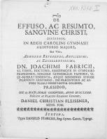 De Effuso, Ac Resumto, Sangvine Christi, Diaskepsin, In Regii Carolini Gymnasii Auditorio Majore