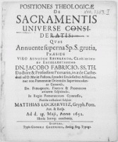 Positiones Theologicae De Sacramentis Universe Consideratis