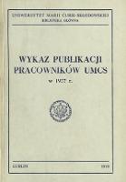 Wykaz Publikacji Pracowników UMCS w 1977 r.