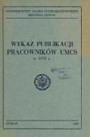 Wykaz Publikacji Pracowników UMCS w 1978 r.