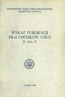 Wykaz Publikacji Pracowników UMCS w 1986 r.