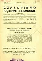 Czasopismo Sądowo-Lekarskie 1935 R.8 nr 3