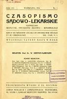 Czasopismo Sądowo-Lekarskie 1935 R.8 nr 1
