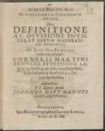 Disputationum physicarum prima de definitione ac divisione physices