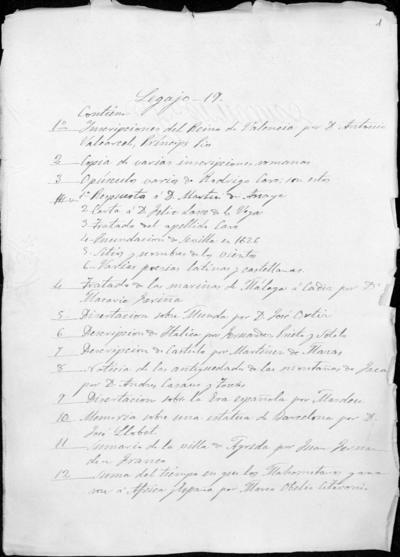 Colección Antonio Delgado y Hernández. Legajo 19. Varios
