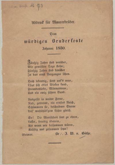 Dem würdigen Bruderfeste Johanni 1830: Abdruck für Maurerbrüder