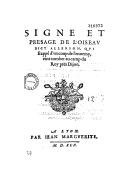 Signe et presage de l'oiseau dict allerion, qui frappé d'un coup de l'ennemy, vint tomber au camp du Roy pres Dijon (en vers)