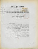 Conclusions pour la Compagnie générale des omnibus, appelante, contre Mlle Pachot / [signé F. Desportes, avocat ; Ferron, avoué]