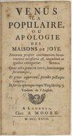 Vénus la populaire , ou Apologie des maisons de joye. Traduite de l'anglais