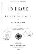 Un drame dans la rue de Rivoli / par Mme Louise Colet
