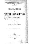 Révolution et contre-révolution en Allemagne / par Karl Marx ; trad. par Laura Lafargue