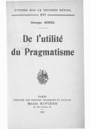De l'utilité du pragmatisme / Georges Sorel
