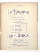 La Tempête, musique de scène pour le drame de Shakespeare, traduction de Maurice Bouchor, Ernest Chausson, op. 18, partition complète, piano et chant